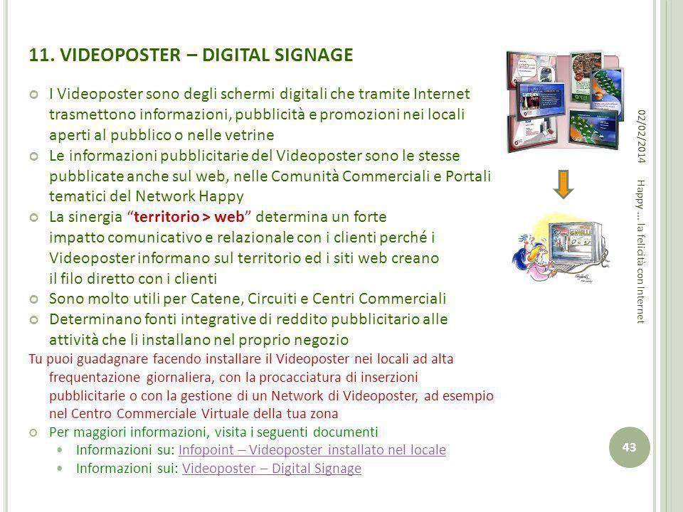 11. VIDEOPOSTER – DIGITAL SIGNAGE I Videoposter sono degli schermi digitali che tramite Internet trasmettono informazioni, pubblicità e promozioni nei