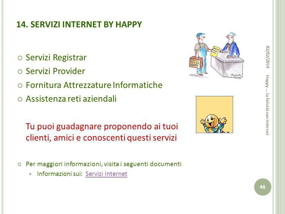 14. SERVIZI INTERNET BY HAPPY Servizi Registrar Servizi Provider Fornitura Attrezzature Informatiche Assistenza reti aziendali Tu puoi guadagnare prop
