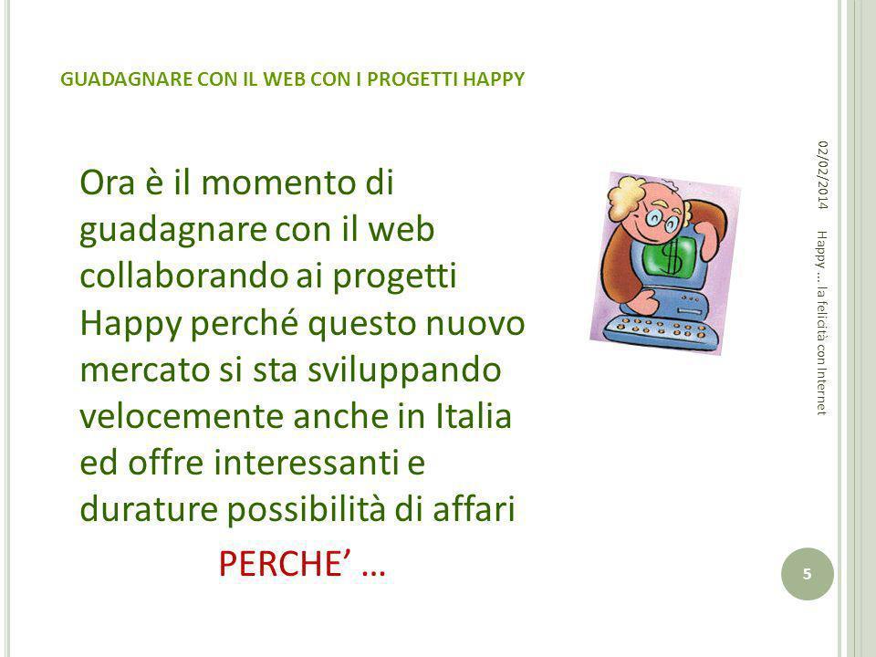 GUADAGNARE CON IL WEB CON I PROGETTI HAPPY Ora è il momento di guadagnare con il web collaborando ai progetti Happy perché questo nuovo mercato si sta