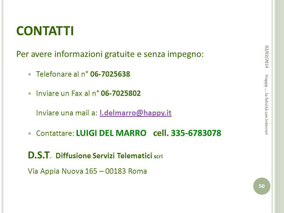 CONTATTI Per avere informazioni gratuite e senza impegno: Telefonare al n° 06-7025638 Inviare un Fax al n° 06-7025802 Inviare una mail a: l.delmarro@h