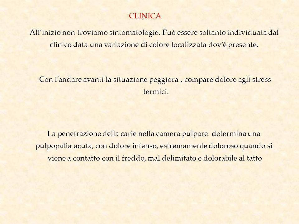 CLINICA Allinizio non troviamo sintomatologie. Può essere soltanto individuata dal clinico data una variazione di colore localizzata dovè presente. Co