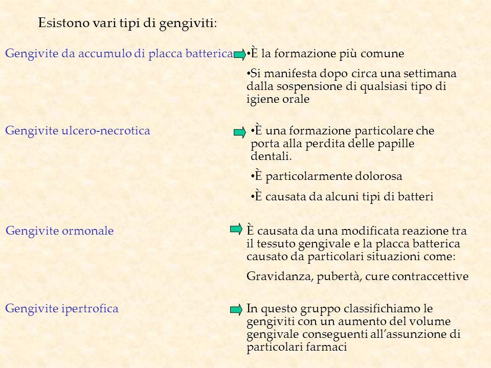 Esistono vari tipi di gengiviti: Gengivite da accumulo di placca batterica È la formazione più comune Si manifesta dopo circa una settimana dalla sosp