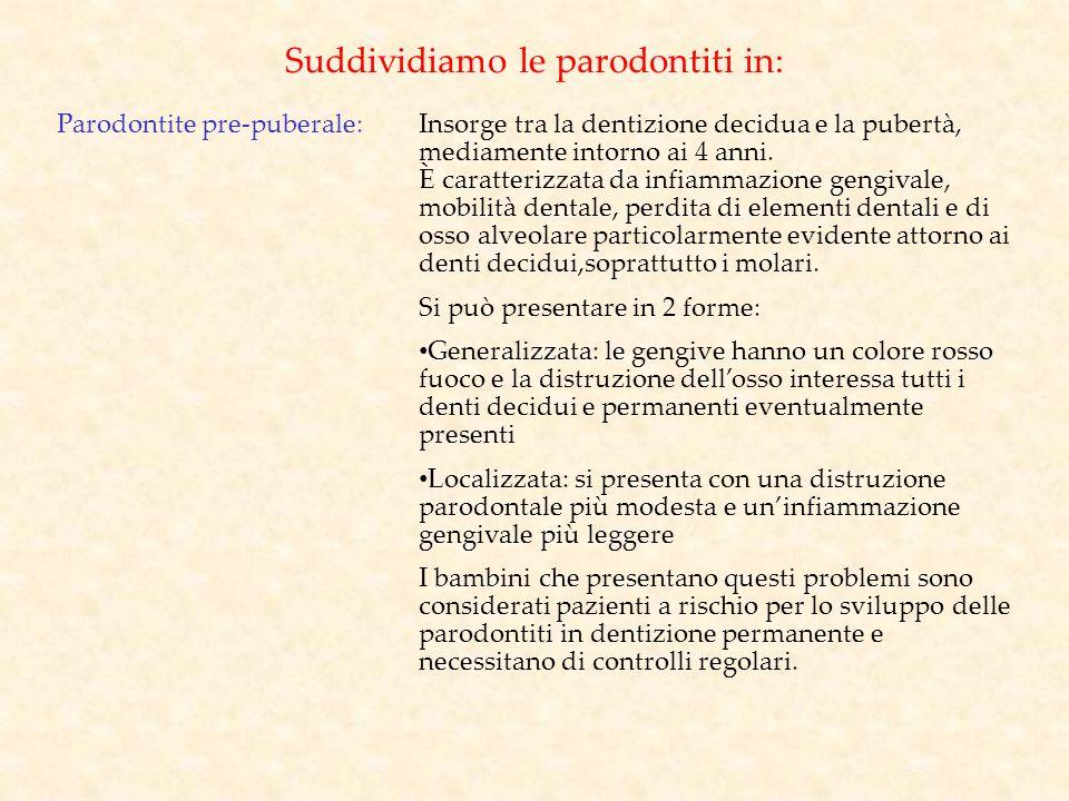 Suddividiamo le parodontiti in: Parodontite pre-puberale:Insorge tra la dentizione decidua e la pubertà, mediamente intorno ai 4 anni. È caratterizzat