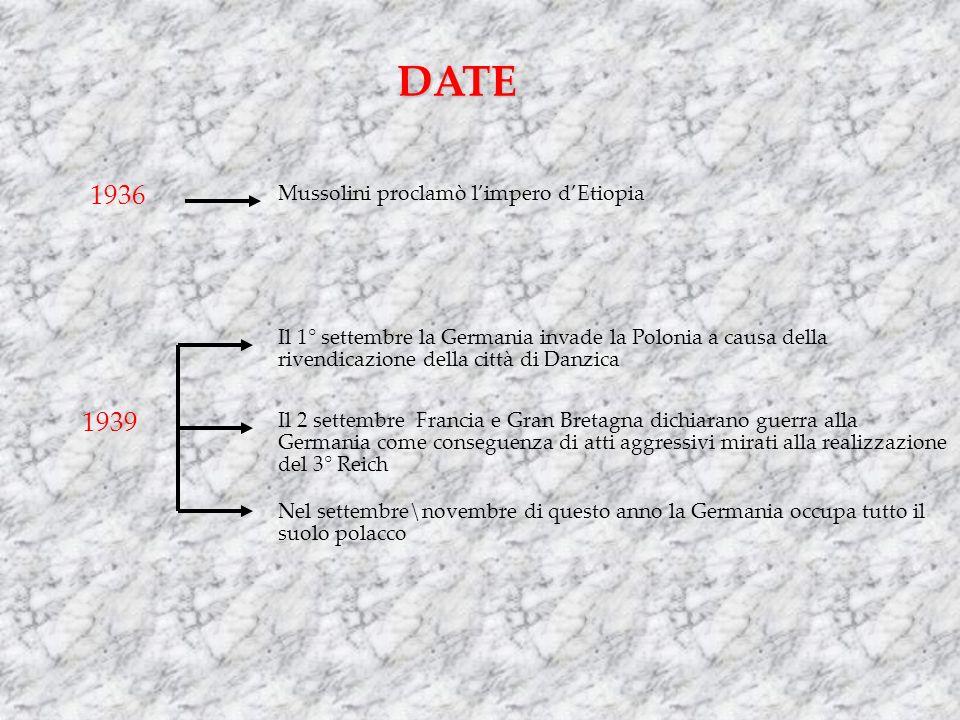 DATE 1936 Mussolini proclamò limpero dEtiopia 1939 Il 1° settembre la Germania invade la Polonia a causa della rivendicazione della città di Danzica I