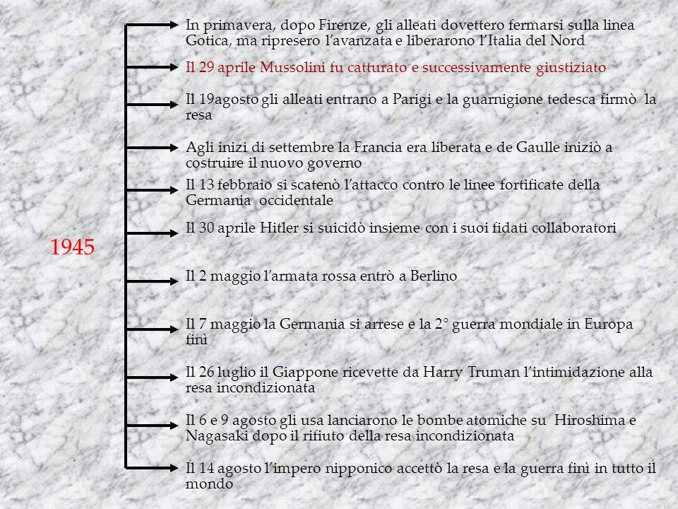 1945 In primavera, dopo Firenze, gli alleati dovettero fermarsi sulla linea Gotica, ma ripresero lavanzata e liberarono lItalia del Nord Il 29 aprile