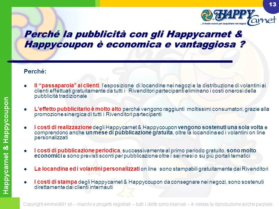 Happycarnet & Happycoupon Copyright emmedì91 srl – marchi e progetti registrati – tutti i diritti sono riservati – è vietata la riproduzione anche parziale 12 Alcuni portali tematici dove sono realizzate iniziative di web marketing con gli Happycarnet & Happycoupon