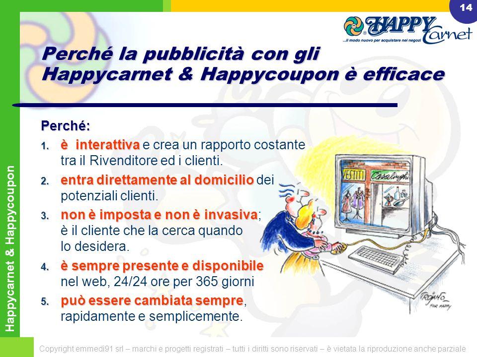 Happycarnet & Happycoupon Copyright emmedì91 srl – marchi e progetti registrati – tutti i diritti sono riservati – è vietata la riproduzione anche parziale 13 Perché la pubblicità con gli Happycarnet & Happycoupon è economica e vantaggiosa .