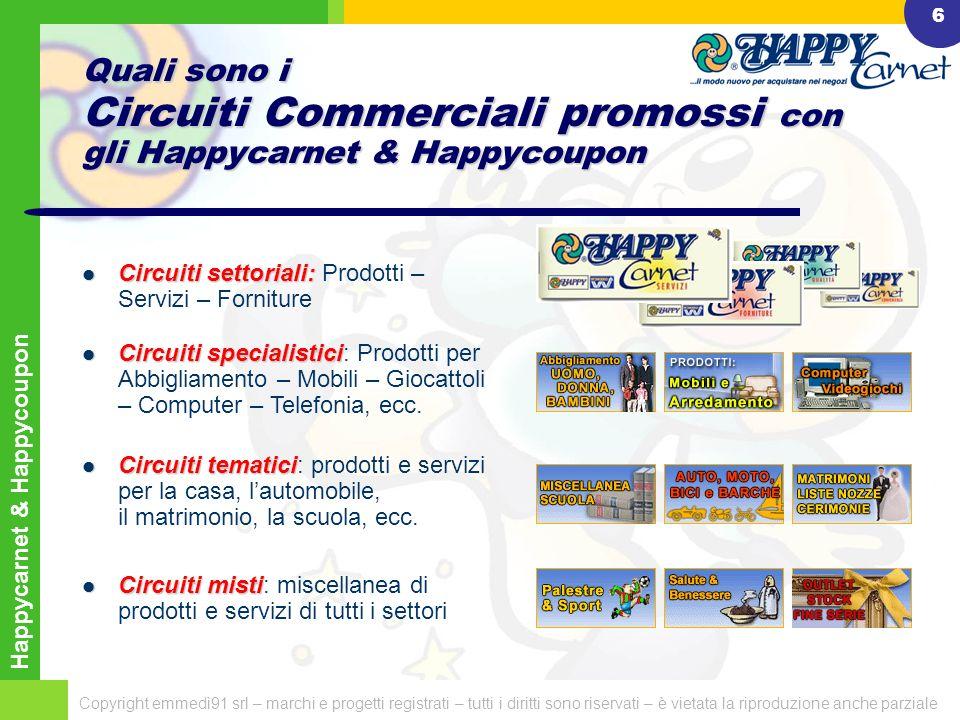 Happycarnet & Happycoupon Copyright emmedì91 srl – marchi e progetti registrati – tutti i diritti sono riservati – è vietata la riproduzione anche parziale 26 Grazie dellattenzione, ci troviamo su www.happy.it www.happy.it