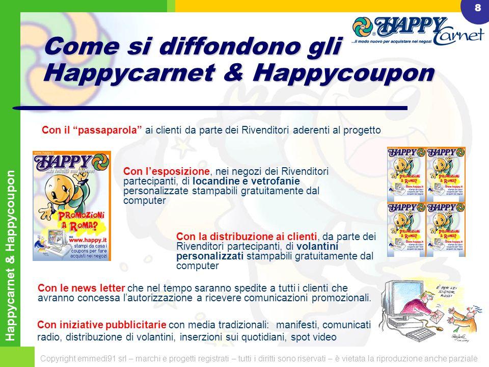 Happycarnet & Happycoupon Copyright emmedì91 srl – marchi e progetti registrati – tutti i diritti sono riservati – è vietata la riproduzione anche parziale 7 Come funzionano gli Happycarnet & Happycoupon Happycarnet & Happycoupon: sono pubblicati – da parte dei Rivenditori e dei Fornitori Primari – oltre che nei portali www.happycarnet.it e ww.happycoupon.it anche sui portali tematici correlati alla tipologia dellattività: www.happycarnet.itww.happycoupon.it Esempi:  i prodotti per la casa, saranno pubblicati su www.prodotticasa.it;www.prodotticasa.it  i prodotti di abbigliamento saranno pubblicati su www.abbigliamentoitalia.itwww.abbigliamentoitalia.it - i prodotti per la scuola, saranno pubblicati su www.prodottiscuola.itwww.prodottiscuola.it - i prodotti per lufficio, saranno pubblicati su www.fornitureuffici.comwww.fornitureuffici.com sono stampati gratuitamente dagli internauti, dal computer di casa o dellufficio sono utilizzati dagli internauti per fare acquisti agevolati, presentandoli presso i Rivenditori che li hanno pubblicati.