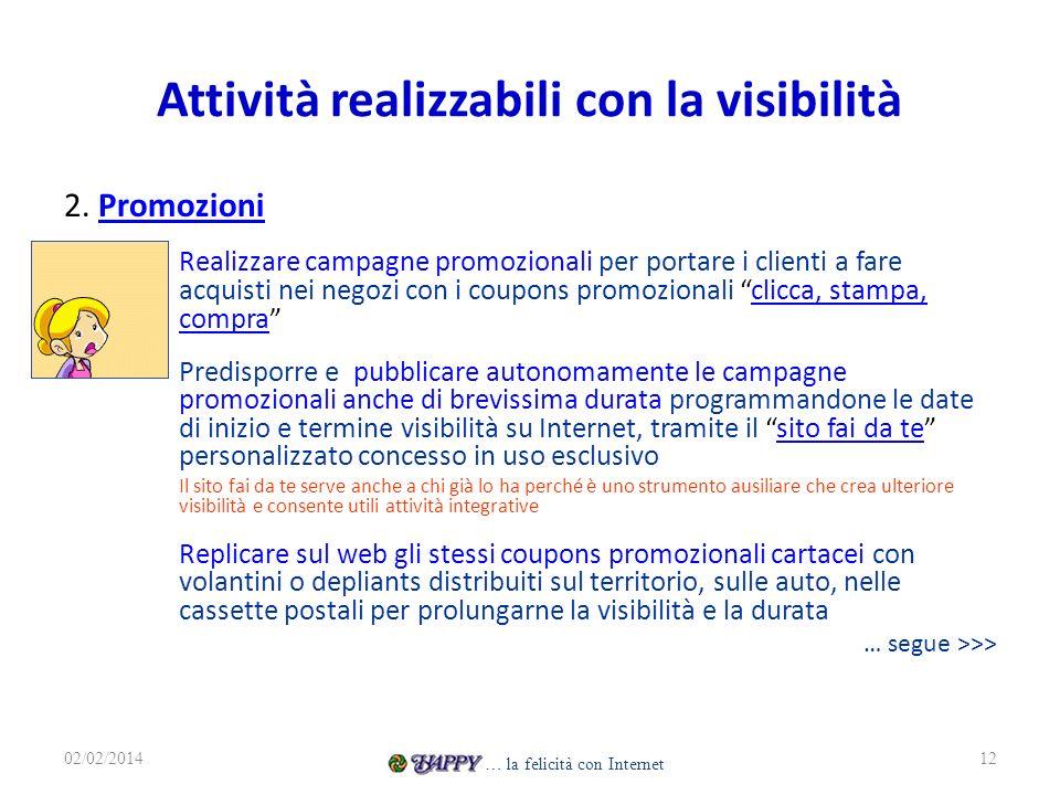 Attività realizzabili con la visibilità 2. PromozioniPromozioni – Realizzare campagne promozionali per portare i clienti a fare acquisti nei negozi co