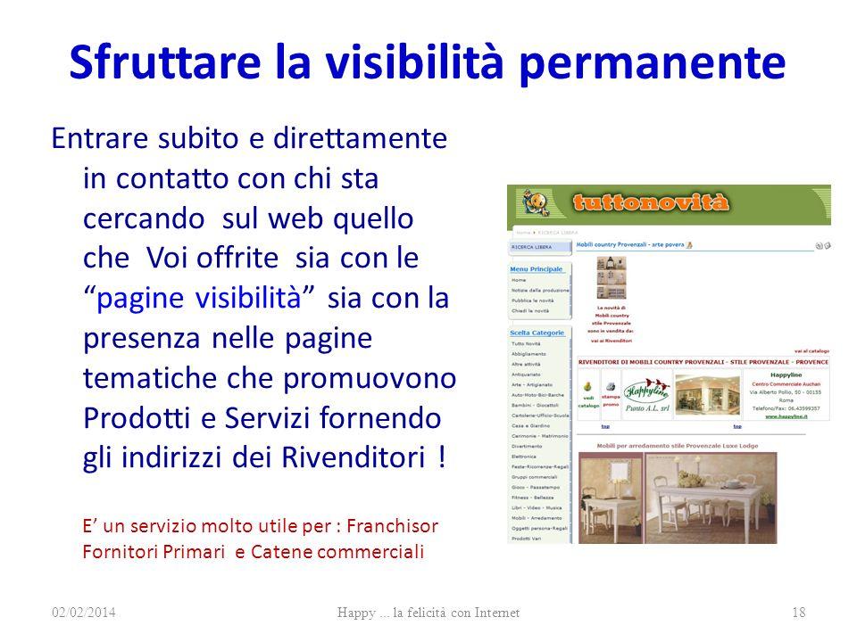 Sfruttare la visibilità permanente Entrare subito e direttamente in contatto con chi sta cercando sul web quello che Voi offrite sia con lepagine visi