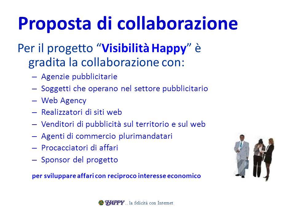 Proposta di collaborazione Per il progetto Visibilità Happy è gradita la collaborazione con: – Agenzie pubblicitarie – Soggetti che operano nel settor