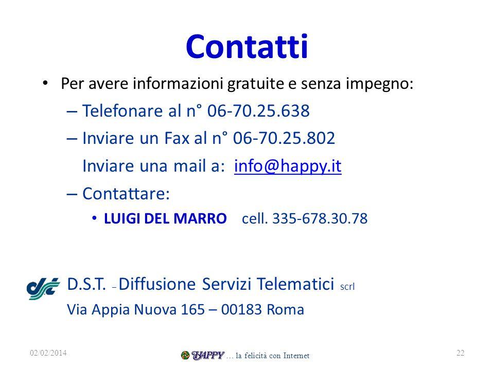 Contatti Per avere informazioni gratuite e senza impegno: – Telefonare al n° 06-70.25.638 – Inviare un Fax al n° 06-70.25.802 Inviare una mail a: info