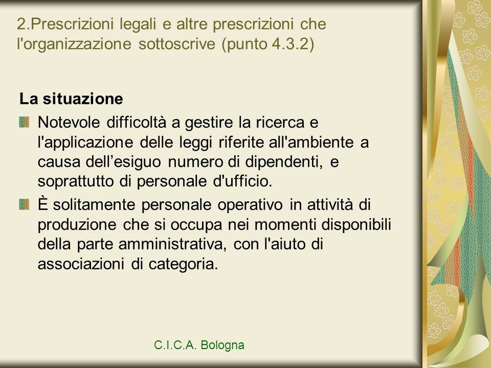 2.Prescrizioni legali e altre prescrizioni che l'organizzazione sottoscrive (punto 4.3.2) La situazione Notevole difficoltà a gestire la ricerca e l'a