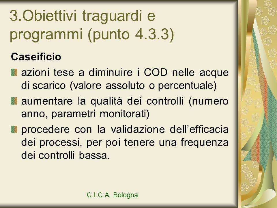 3.Obiettivi traguardi e programmi (punto 4.3.3) Caseificio azioni tese a diminuire i COD nelle acque di scarico (valore assoluto o percentuale) aument