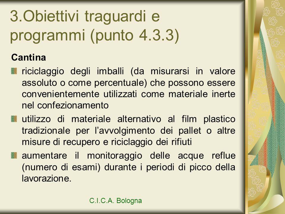 3.Obiettivi traguardi e programmi (punto 4.3.3) Cantina riciclaggio degli imballi (da misurarsi in valore assoluto o come percentuale) che possono ess
