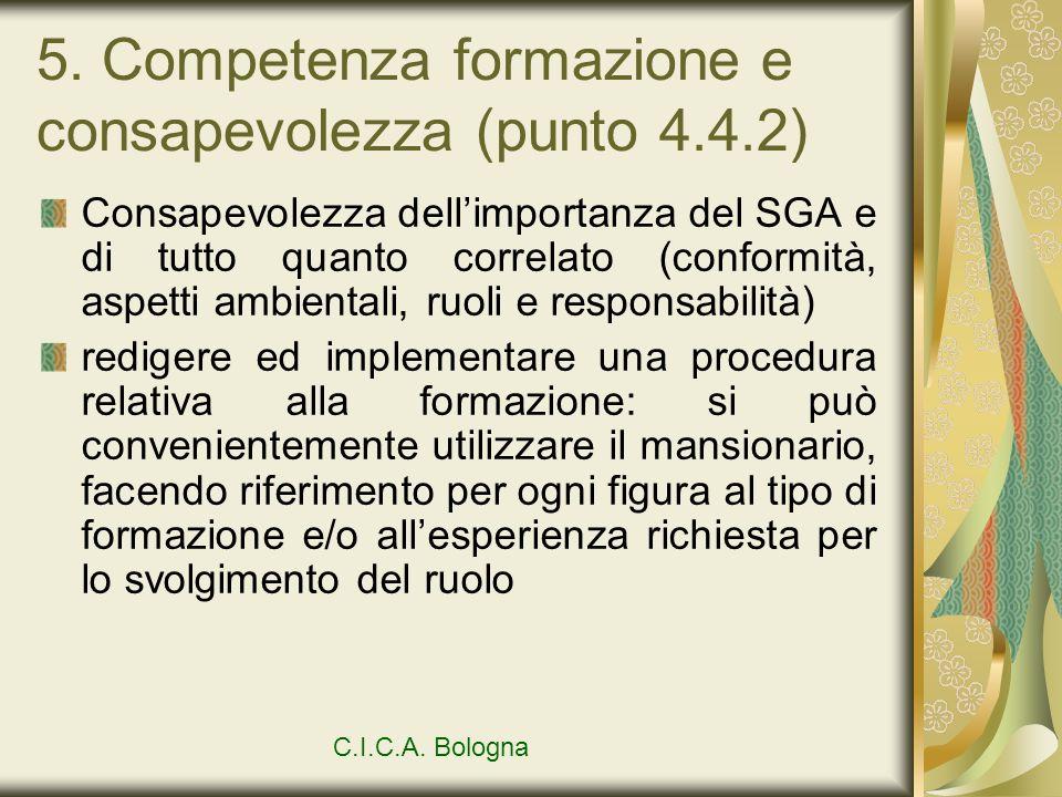 5. Competenza formazione e consapevolezza (punto 4.4.2) Consapevolezza dellimportanza del SGA e di tutto quanto correlato (conformità, aspetti ambient