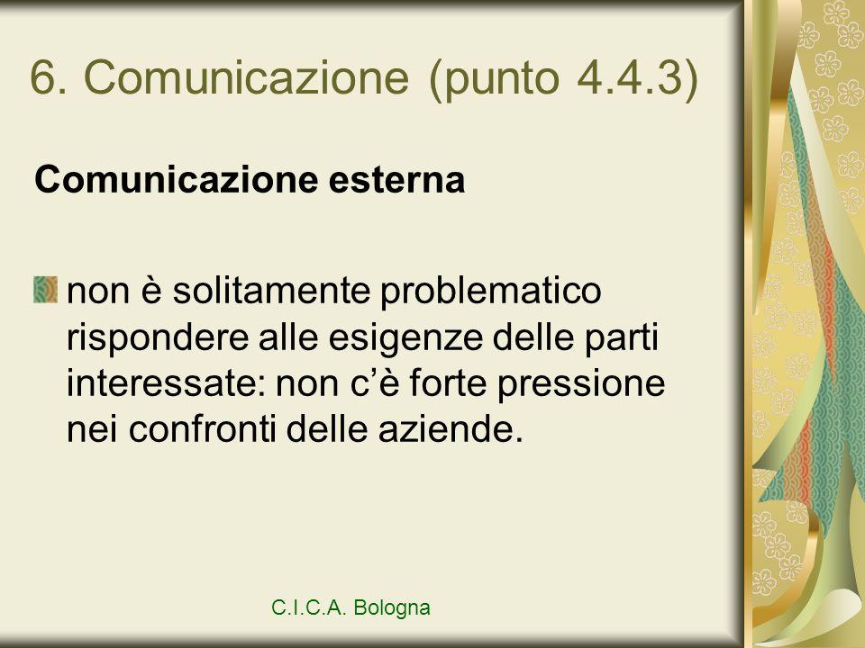 6. Comunicazione (punto 4.4.3) Comunicazione esterna non è solitamente problematico rispondere alle esigenze delle parti interessate: non cè forte pre