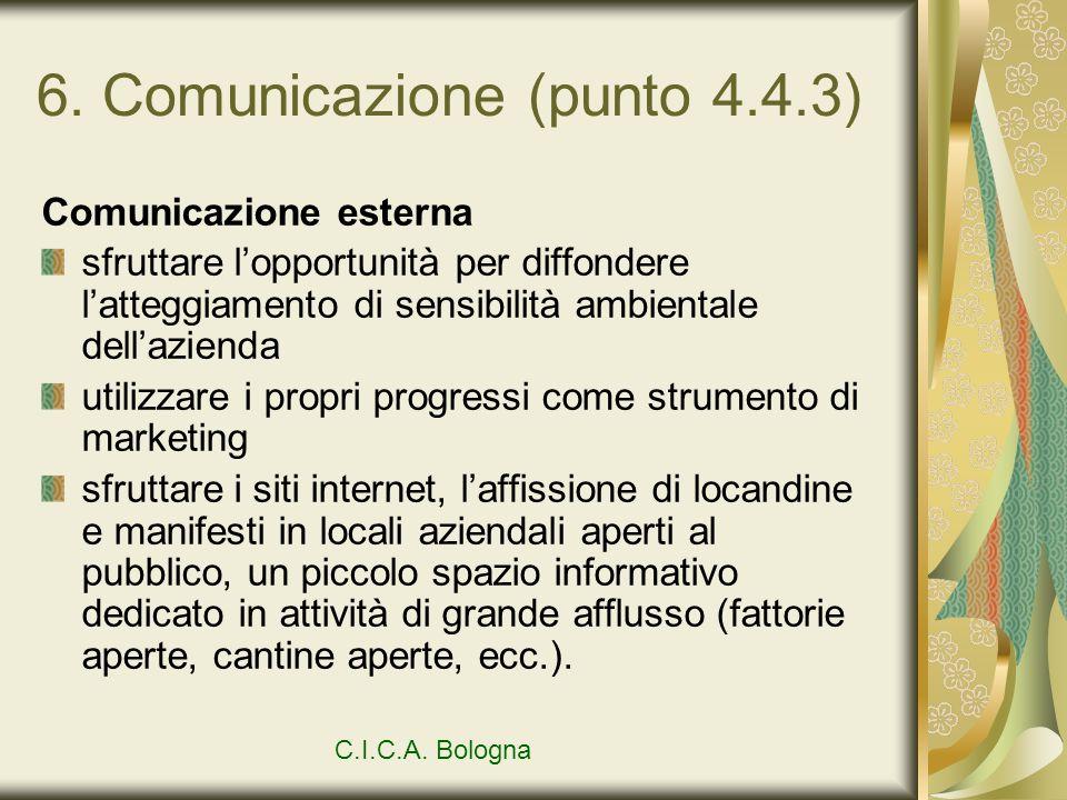 6. Comunicazione (punto 4.4.3) Comunicazione esterna sfruttare lopportunità per diffondere latteggiamento di sensibilità ambientale dellazienda utiliz