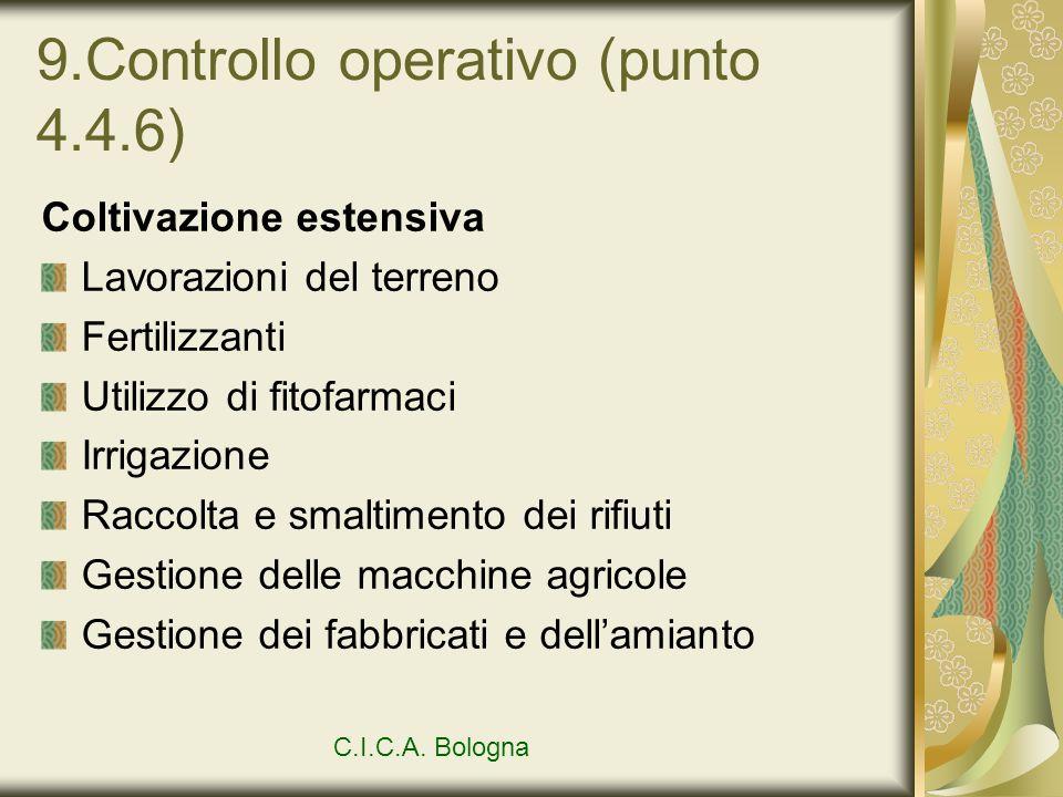9.Controllo operativo (punto 4.4.6) Coltivazione estensiva Lavorazioni del terreno Fertilizzanti Utilizzo di fitofarmaci Irrigazione Raccolta e smalti