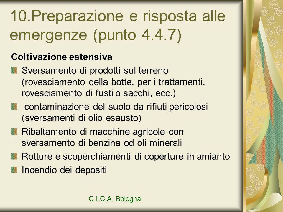 10.Preparazione e risposta alle emergenze (punto 4.4.7) Coltivazione estensiva Sversamento di prodotti sul terreno (rovesciamento della botte, per i t