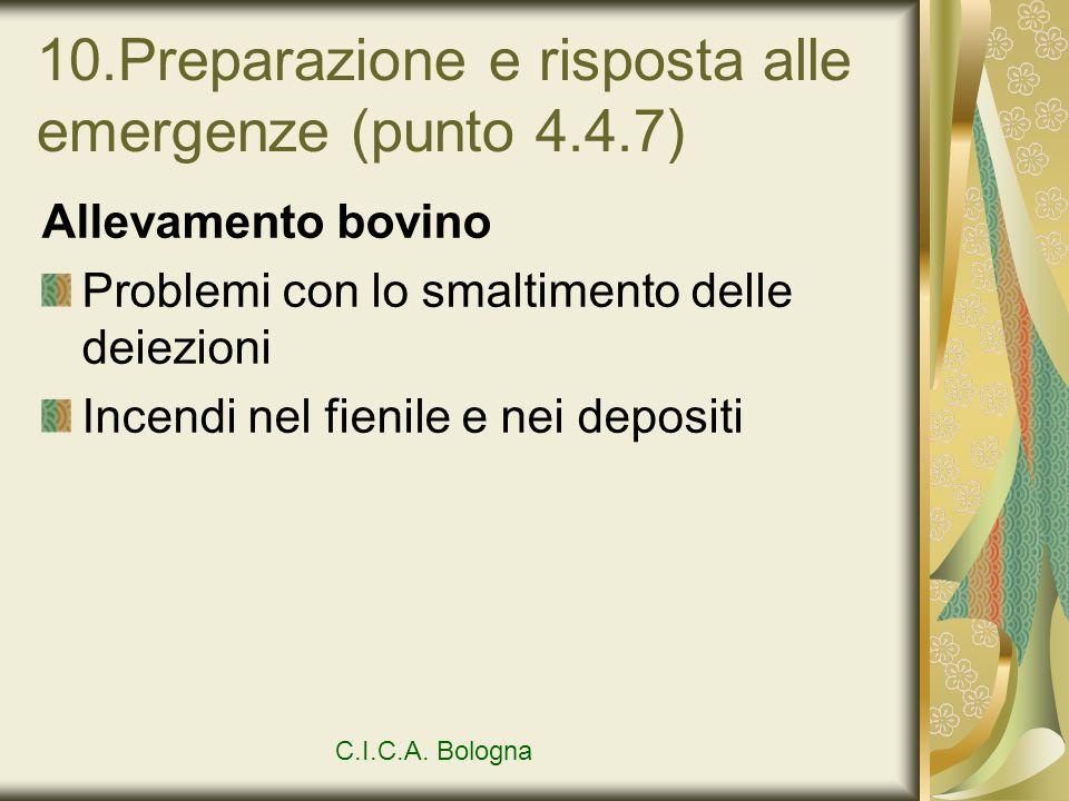 10.Preparazione e risposta alle emergenze (punto 4.4.7) Allevamento bovino Problemi con lo smaltimento delle deiezioni Incendi nel fienile e nei depos