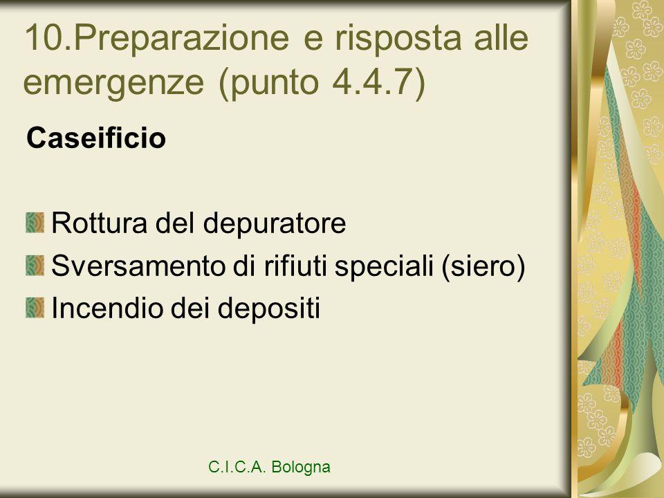 10.Preparazione e risposta alle emergenze (punto 4.4.7) Caseificio Rottura del depuratore Sversamento di rifiuti speciali (siero) Incendio dei deposit