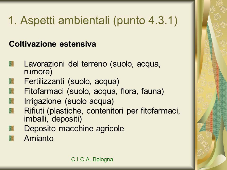1. Aspetti ambientali (punto 4.3.1) Coltivazione estensiva Lavorazioni del terreno (suolo, acqua, rumore) Fertilizzanti (suolo, acqua) Fitofarmaci (su
