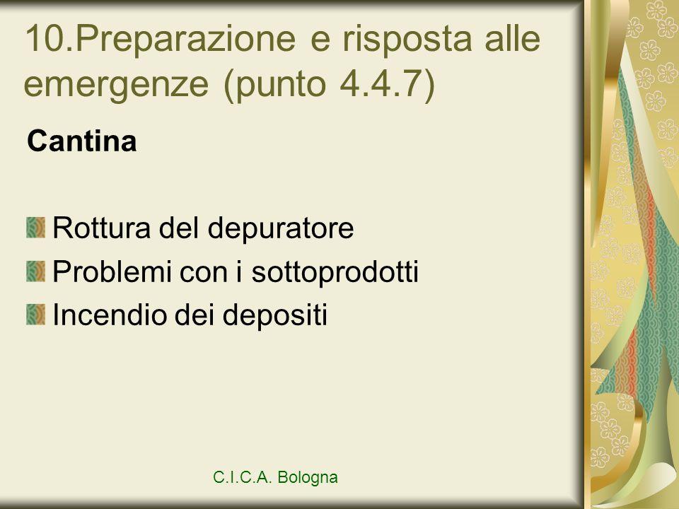 10.Preparazione e risposta alle emergenze (punto 4.4.7) Cantina Rottura del depuratore Problemi con i sottoprodotti Incendio dei depositi C.I.C.A. Bol