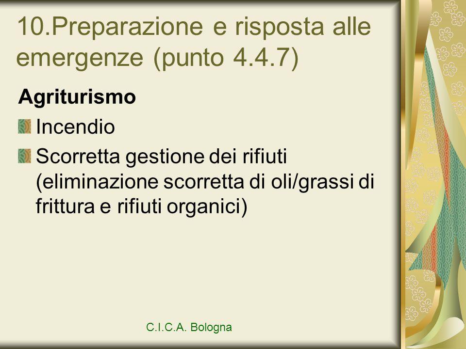 10.Preparazione e risposta alle emergenze (punto 4.4.7) Agriturismo Incendio Scorretta gestione dei rifiuti (eliminazione scorretta di oli/grassi di f
