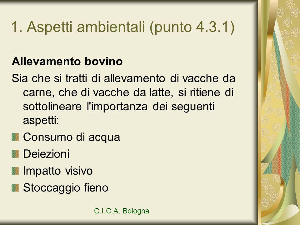 1. Aspetti ambientali (punto 4.3.1) Allevamento bovino Sia che si tratti di allevamento di vacche da carne, che di vacche da latte, si ritiene di sott
