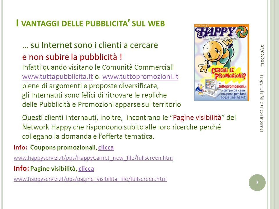 I VANTAGGI DELLE PUBBLICITA SUL WEB … su Internet sono i clienti a cercare e non subire la pubblicità ! Infatti quando visitano le Comunità Commercial
