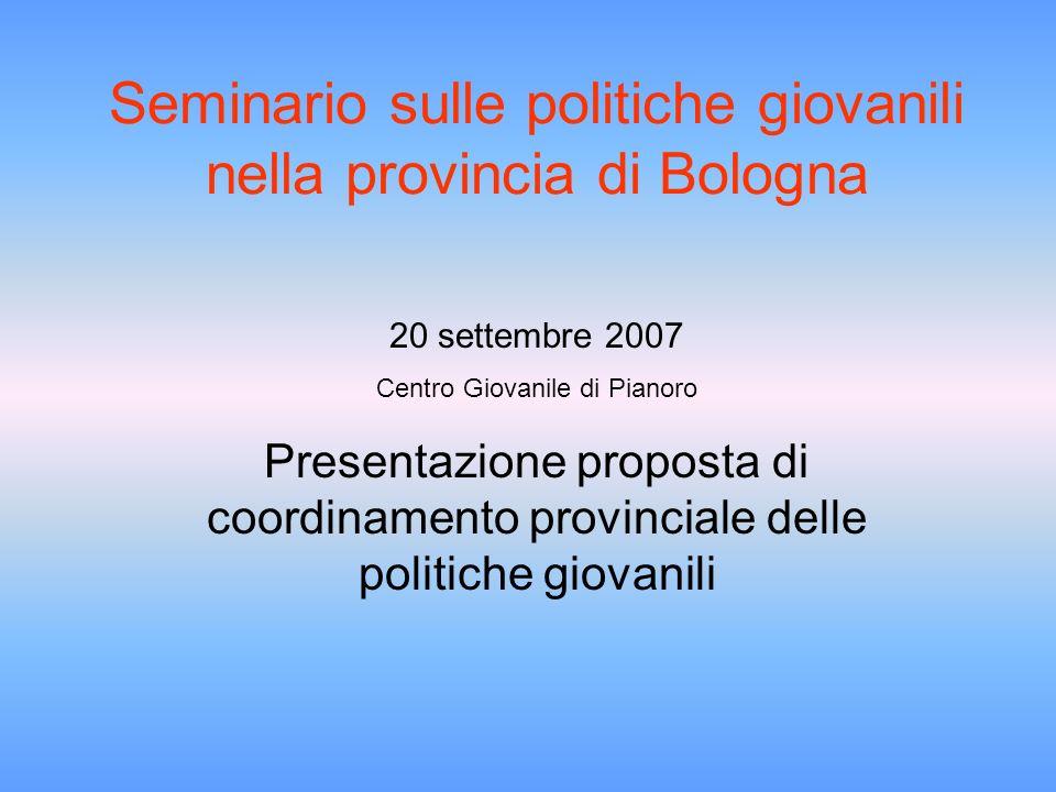 Seminario sulle politiche giovanili nella provincia di Bologna 20 settembre 2007 Centro Giovanile di Pianoro Presentazione proposta di coordinamento provinciale delle politiche giovanili