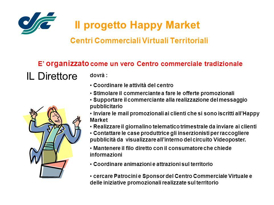 Il progetto Happy Market Centri Commerciali Virtuali Territoriali IL Direttore E organizzato come un vero Centro commerciale tradizionale dovrà : Coor