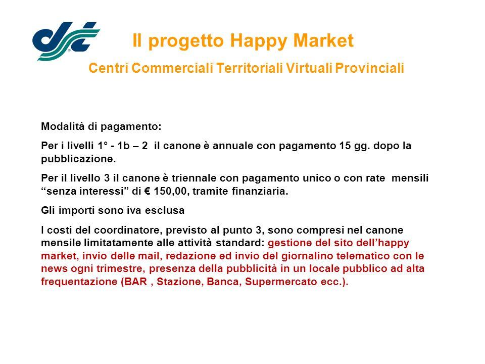 Il progetto Happy Market Centri Commerciali Territoriali Virtuali Provinciali Modalità di pagamento: Per i livelli 1° - 1b – 2 il canone è annuale con