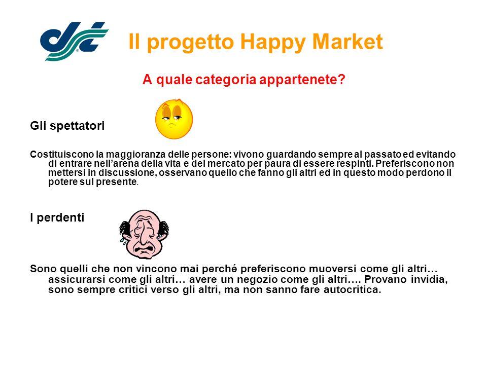 Il progetto Happy Market A quale categoria appartenete? Gli spettatori Costituiscono la maggioranza delle persone: vivono guardando sempre al passato
