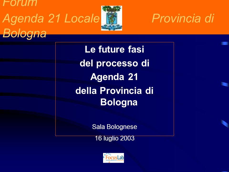 Forum Agenda 21 Locale Provincia di Bologna Le future fasi del processo di Agenda 21 della Provincia di Bologna Sala Bolognese 16 luglio 2003