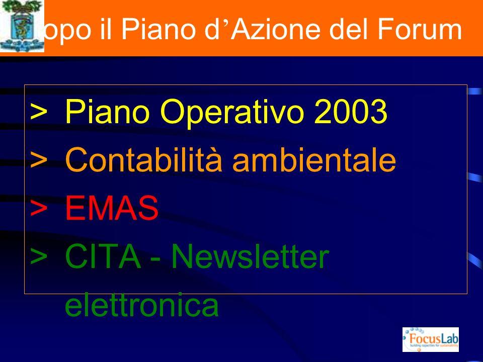 Dopo il Piano d Azione del Forum >Piano Operativo 2003 >Contabilità ambientale >EMAS >CITA - Newsletter elettronica
