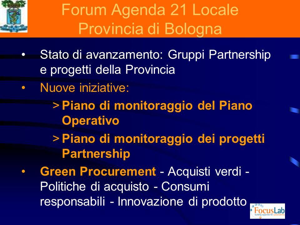 Forum Agenda 21 Locale Provincia di Bologna Stato di avanzamento: Gruppi Partnership e progetti della Provincia Nuove iniziative: >Piano di monitoraggio del Piano Operativo >Piano di monitoraggio dei progetti Partnership Green Procurement - Acquisti verdi - Politiche di acquisto - Consumi responsabili - Innovazione di prodotto
