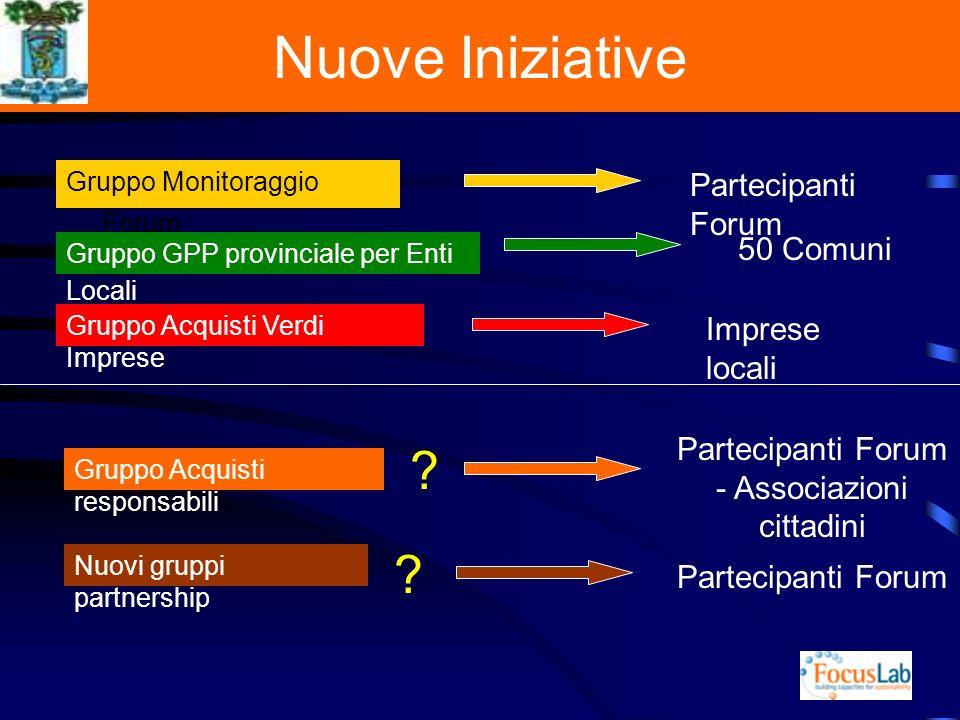 Nuove Iniziative Gruppo Monitoraggio Forum Gruppo GPP provinciale per Enti Locali Gruppo Acquisti Verdi Imprese Gruppo Acquisti responsabili Nuovi gruppi partnership .