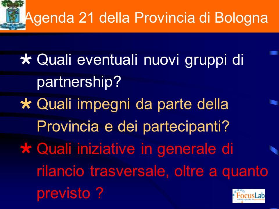 L Agenda 21 della Provincia di Bologna Quali eventuali nuovi gruppi di partnership.