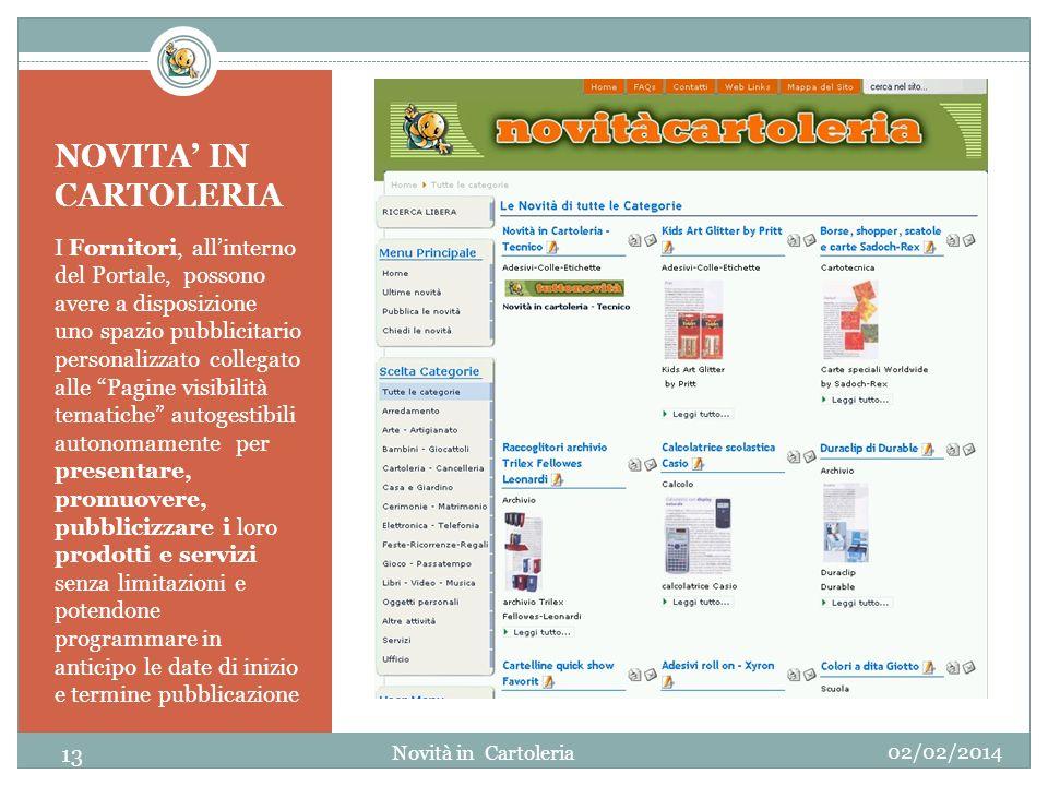 NOVITA IN CARTOLERIA I Fornitori, allinterno del Portale, possono avere a disposizione uno spazio pubblicitario personalizzato collegato alle Pagine v