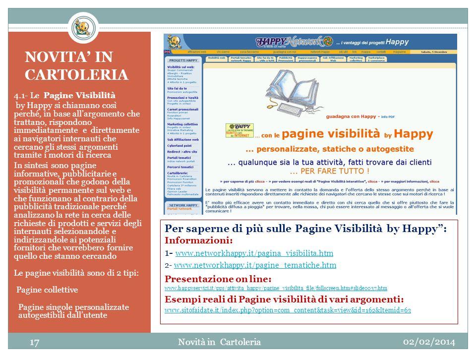 NOVITA IN CARTOLERIA 4.1- Le Pagine Visibilità by Happy si chiamano così perché, in base allargomento che trattano, rispondono immediatamente e dirett