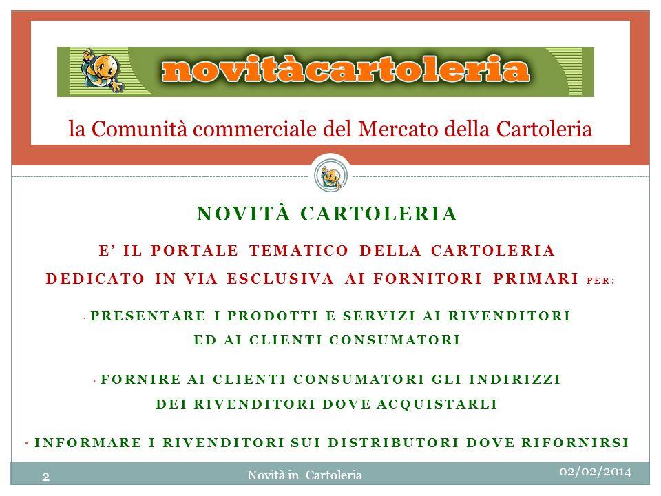la Comunità commerciale del Mercato della Cartoleria NOVITÀ CARTOLERIA E IL PORTALE TEMATICO DELLA CARTOLERIA DEDICATO IN VIA ESCLUSIVA AI FORNITORI P