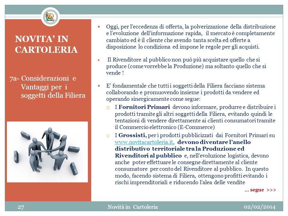 NOVITA IN CARTOLERIA 7a- Considerazioni e Vantaggi per i soggetti della Filiera Oggi, per leccedenza di offerta, la polverizzazione della distribuzion