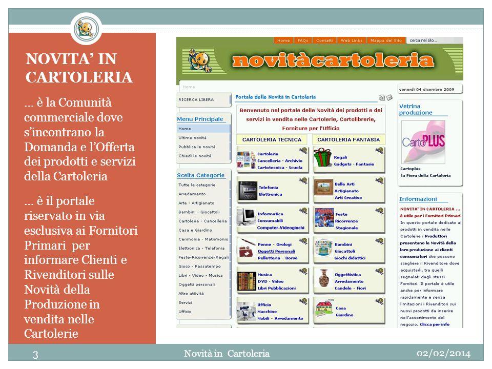 NOVITA IN CARTOLERIA … è la Comunità commerciale dove sincontrano la Domanda e lOfferta dei prodotti e servizi della Cartoleria … è il portale riserva