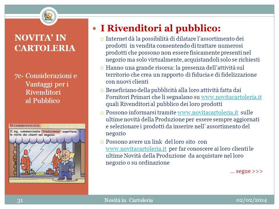 NOVITA IN CARTOLERIA 7c- Considerazioni e Vantaggi per i Rivenditori al Pubblico I Rivenditori al pubblico: Internet dà la possibilità di dilatare las