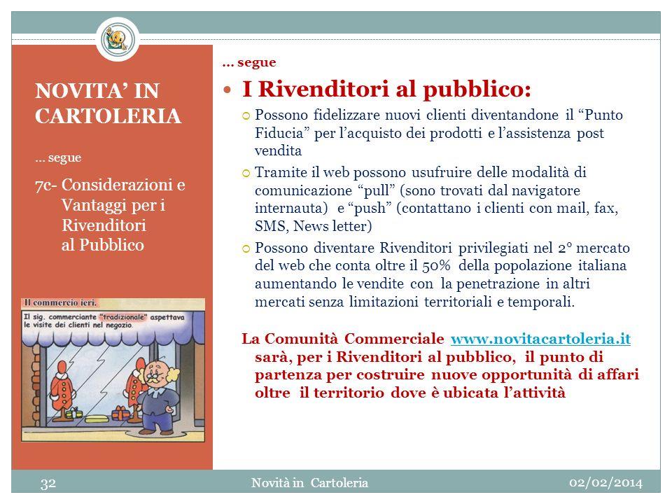 NOVITA IN CARTOLERIA … segue 7c- Considerazioni e Vantaggi per i Rivenditori al Pubblico … segue I Rivenditori al pubblico: Possono fidelizzare nuovi