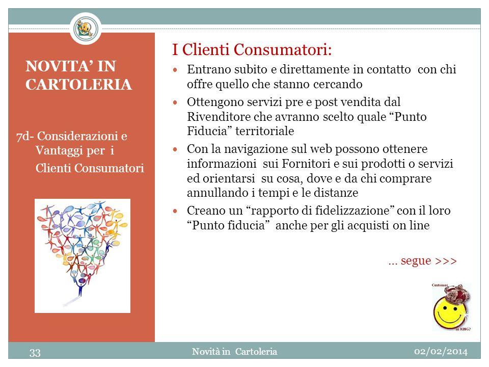 NOVITA IN CARTOLERIA 7d- Considerazioni e Vantaggi per i Clienti Consumatori I Clienti Consumatori: Entrano subito e direttamente in contatto con chi