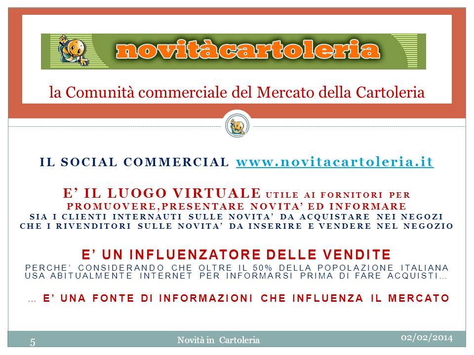 la Comunità commerciale del Mercato della Cartoleria IL SOCIAL COMMERCIAL www.novitacartoleria.it www.novitacartoleria.it E IL LUOGO VIRTUALE UTILE AI